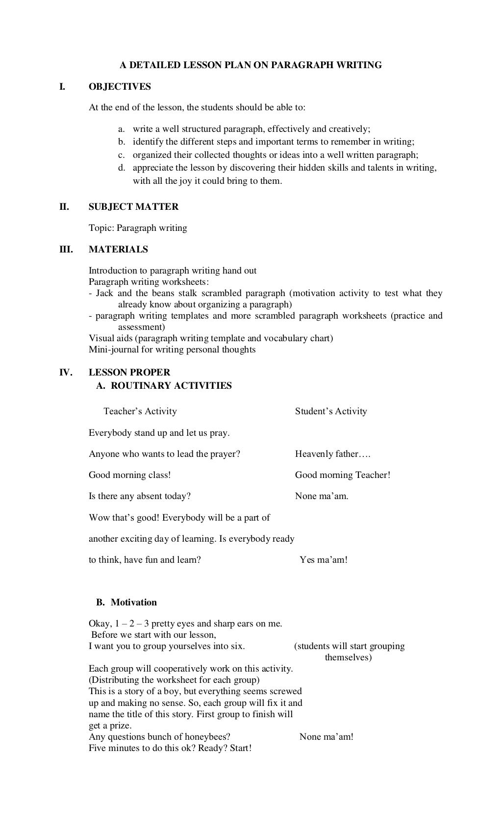a detailed lesson plan on paragraph writing by christine watts via  college essay lesson plans a detailed lesson plan on paragraph writing