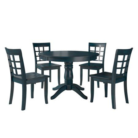 Lexington 5 Piece Wood Dining Set Round Table And 4 Window Back Chairs Dark Denim Blue In 2020 Round Dining