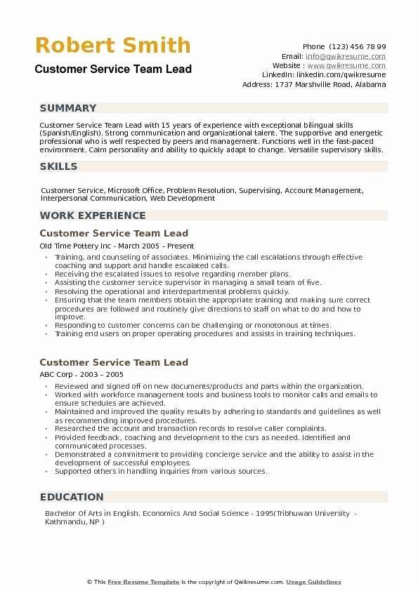team lead job description resume lovely customer service