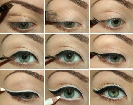 Коричневый макияж для зеленых глаз пошаговое фото в домашних условиях