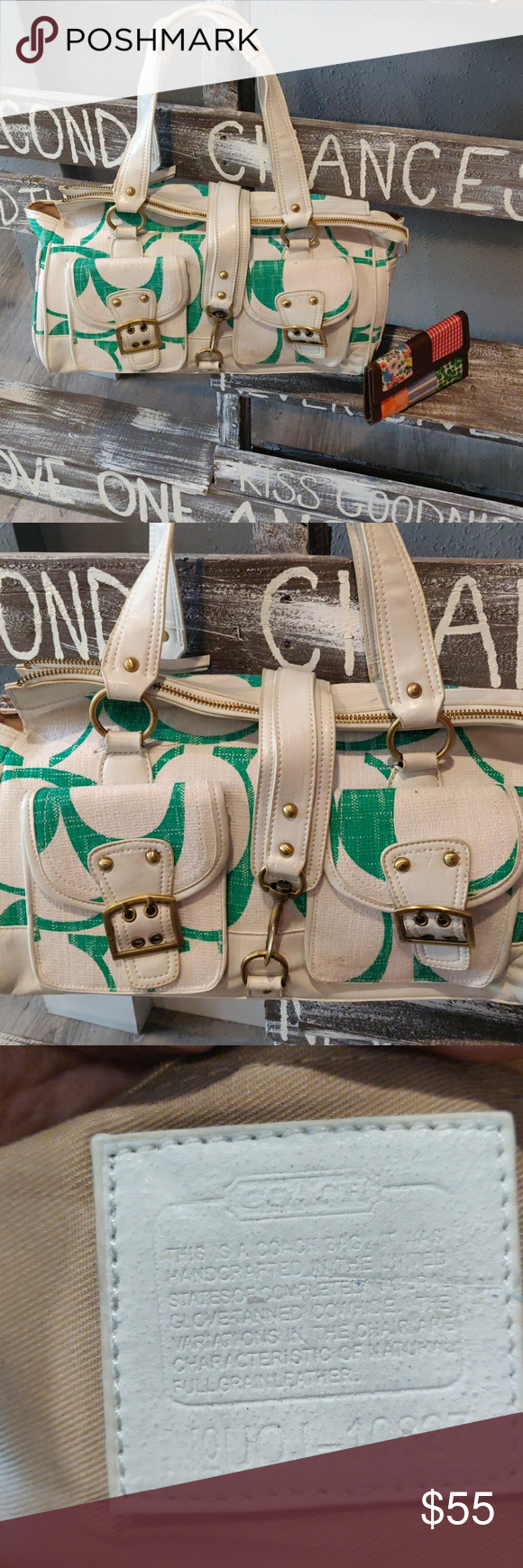 Coach purse and wallet White and green Coach shoulder bag