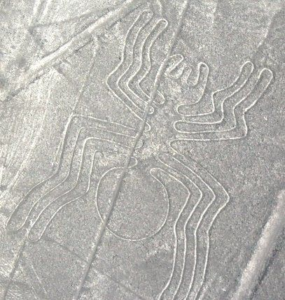 Spider Geogliph - Nazca Lines from small airplane