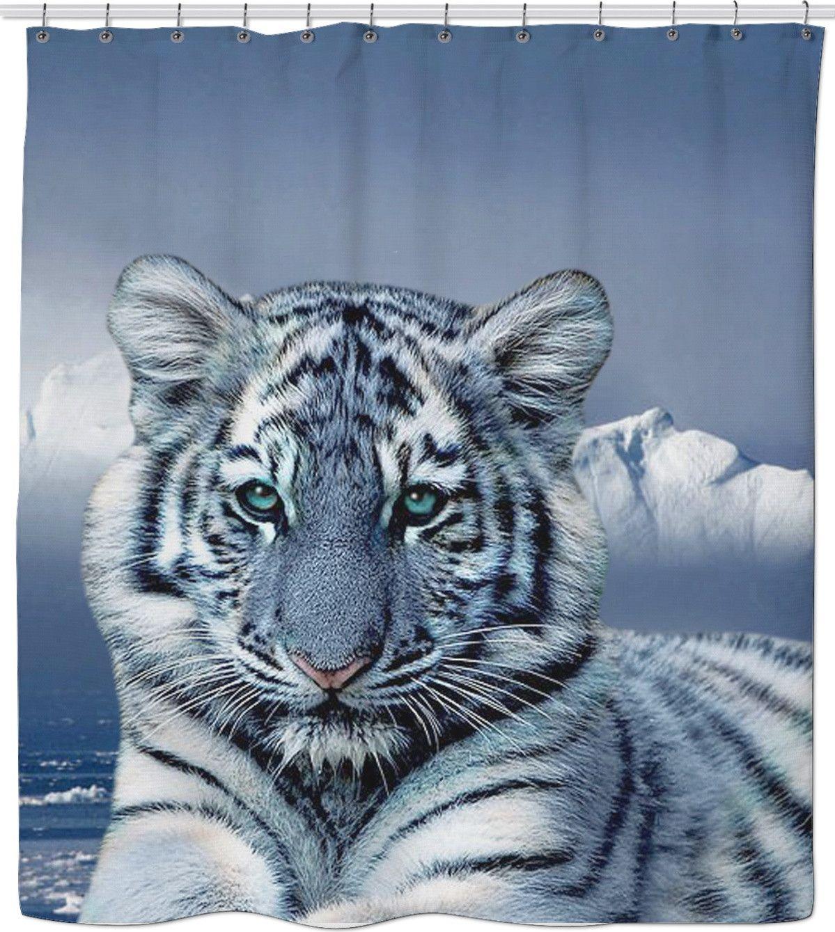 Blue White Tiger Shower Curtain Animals Beautiful Pretty
