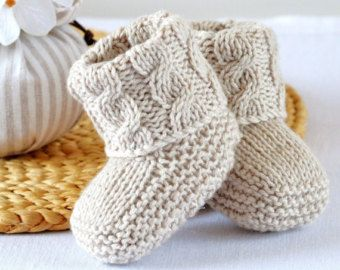 Photo of KNITTING PATTERN Baby Booties Cable Aran Baby Shoes Quick and Easy Photo Tutorial Digital File Instant Download