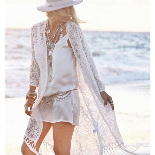 28dcd3994ba Boho Sheer Lace Kimono Beach Cover Up @ BMEssentials.com (Link in bio)  Collections for Boho Chic & Boho Men. Bohemian Jewelry & Accessories. Beach  Wear.