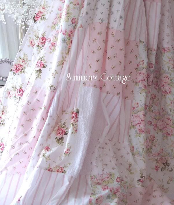 Shabby White Patchwork Chenille Beach Cottage Aqua Blue Chic Pink Roses Shower Curtain Shabby Chic Curtains Shabby Chic Room Shabby Chic Bathroom