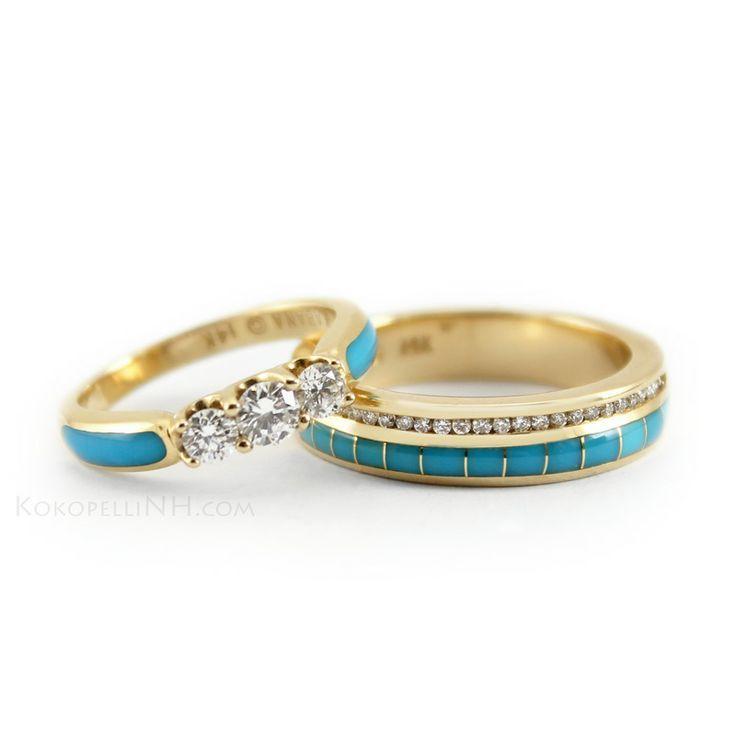 desert wedding inspiration turquoise gold diamond wedding bands southwestern wedding - Turquoise Wedding Ring