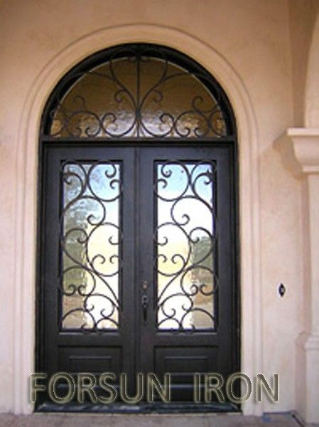 Luxury Wrought Iron Double Door With Arched Transom For Villa Exterior Iron Doors Houses Buy Exterio Double Doors Exterior Wrought Iron Front Door Iron Doors