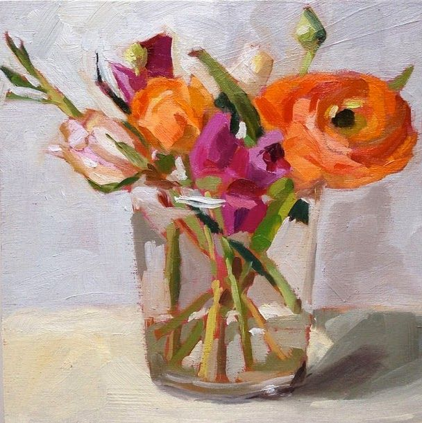 "8""x8"" oils on board Trader Joe's has such a great assortment of flowers and when spring hits they stock ranunculus - which are so lovely..."