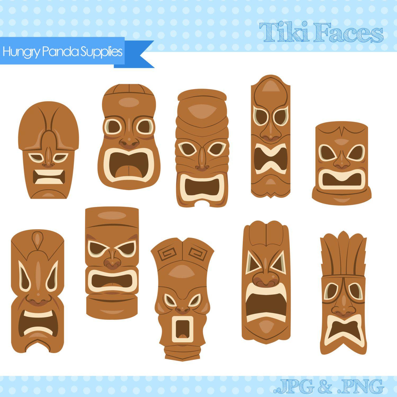 Tiki Mask Clipart, tiki faces clipart, tiki statues clip