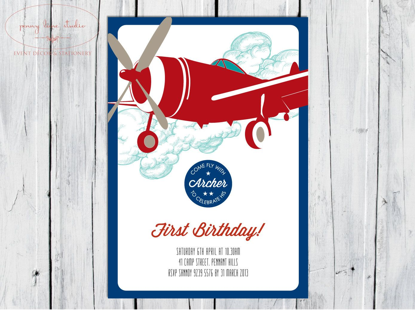 Vintage Airplane, Digital DIY Printable Invitation Boys Birthday ...