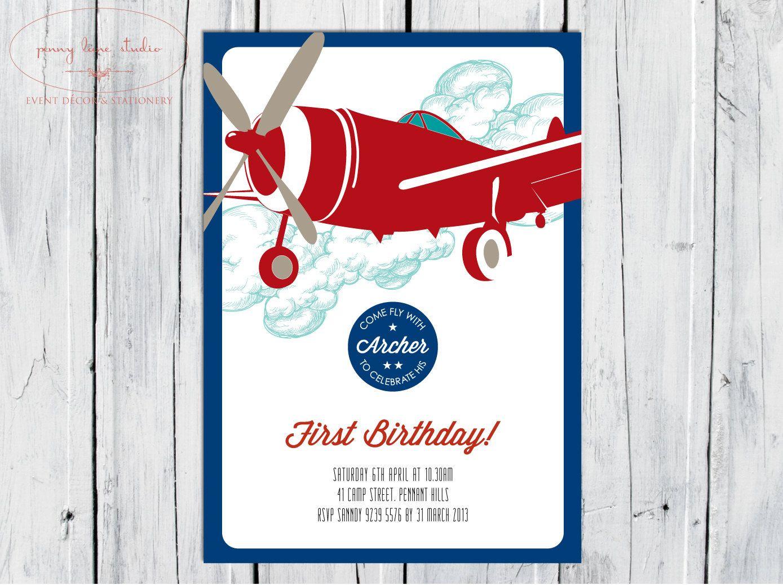 Baby Shower Boy Invitations Diy ~ Vintage airplane digital diy printable invitation boys