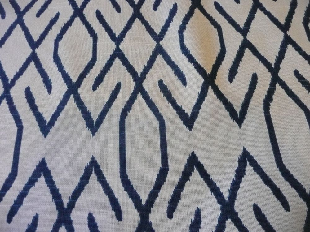Lacefield design Zoe Navy White Ikat Fabric DEFECT 2nd 54 ...