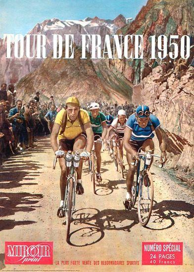 Vintage 1950 Tour de France Cycling Poster A3 Print