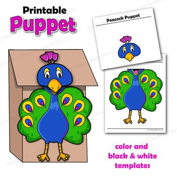 Puppet Peacock Craft ActivityPrintable Paper Bag Puppet Template
