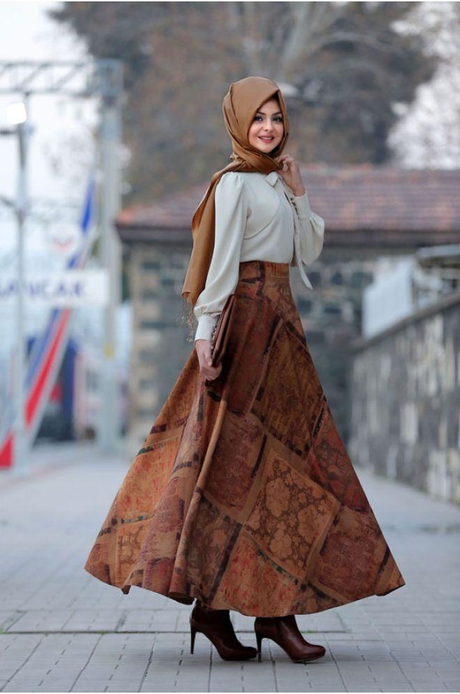 69b53f7e9ecad Pınar Şems Mine Kadife Verev Etek Hardal | Style in 2019 | Etek ...
