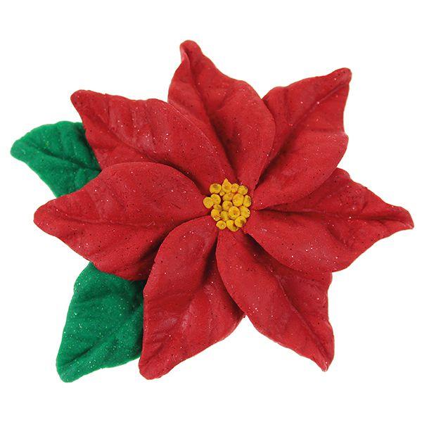 Joulutähti on tehty lehtimuotin avulla Fimo-massoista.