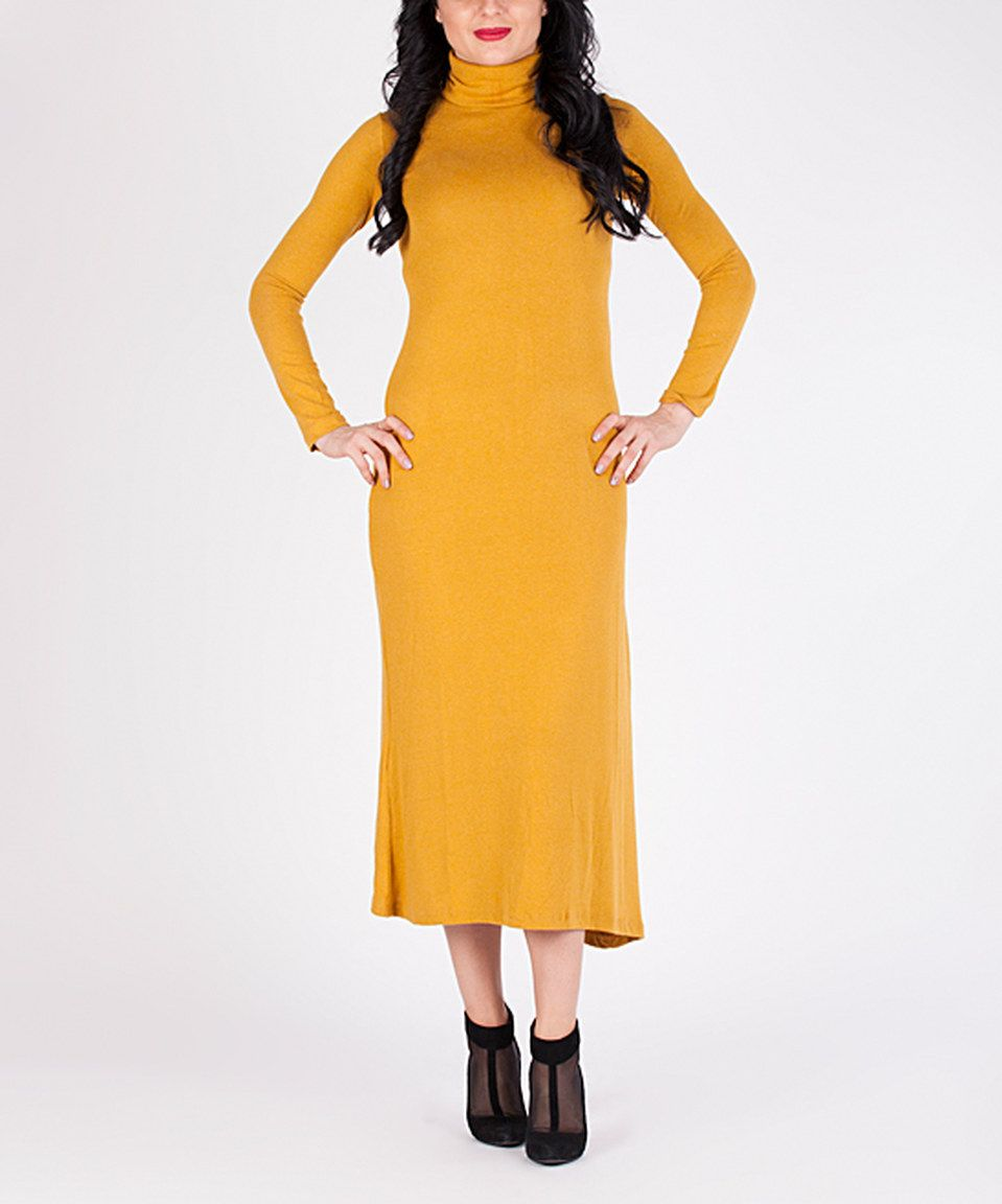 be1939b31021 Love this Mustard Turtleneck Ankle-Length Dress by D'Shea Knitwear on # zulily! #zulilyfinds