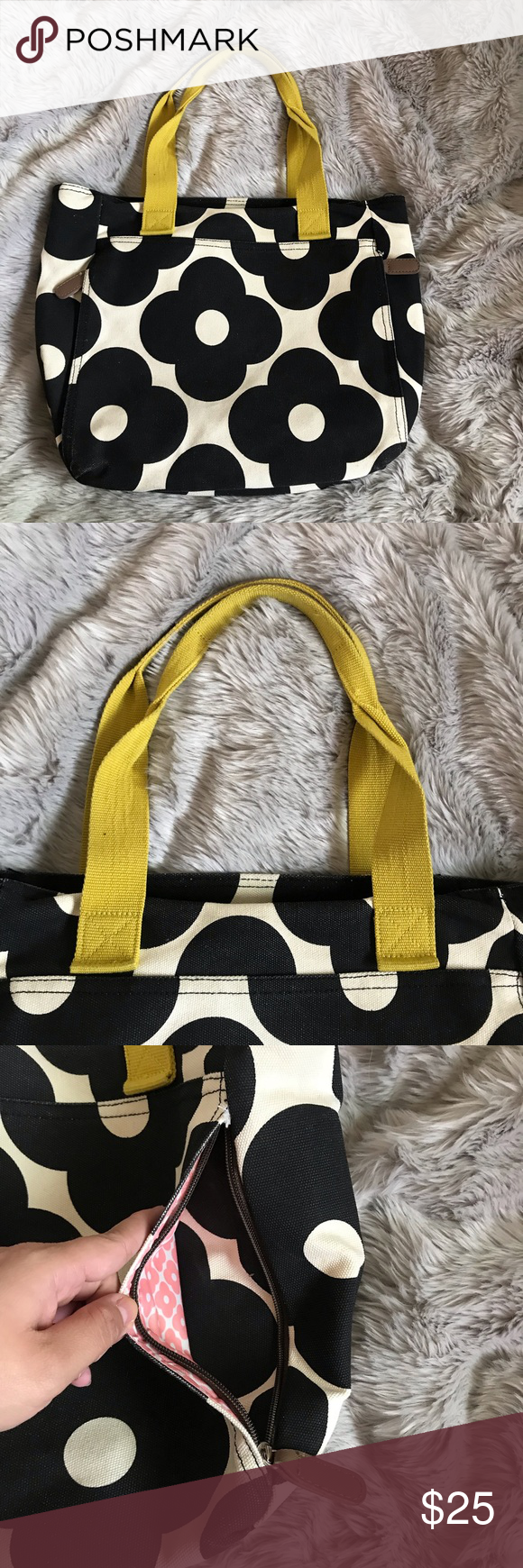856cd339c934 Orla Kiely for Target black cream Yoga tote Orla Kiely for Target Yoga tote  Zipper in back to slide through yoga Mat Black and cream   offwhite canvas  ...