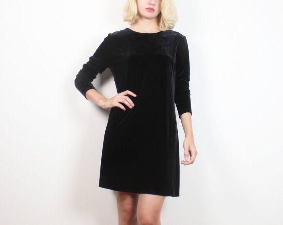 Vintage Black Velvet Dress 1990s Dress Long by ShopTwitchVintage