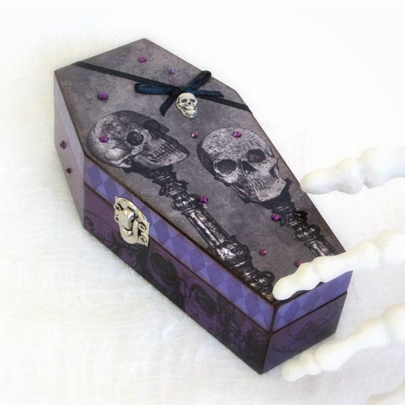 Coffin Box Decoupaged Halloween Coffin Box Goth Gothic Skulls Gray