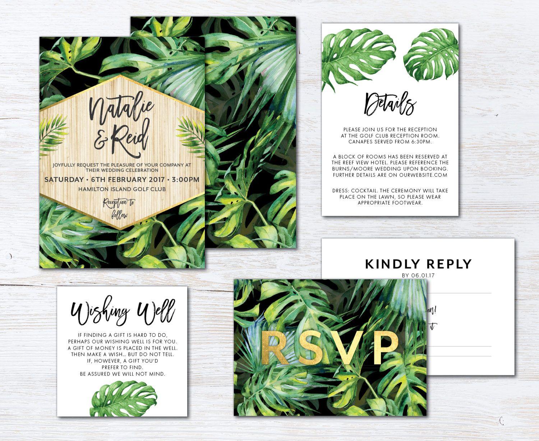 Tropical Leaves Wedding Suite  DIY PRINTABLE Invite RSVP  Botanical Wedding