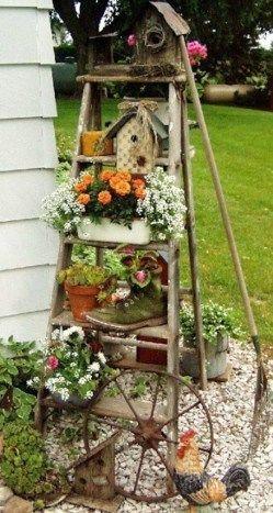 objet en bois avec des fleurs a décorer   ... de jolis pots de ...
