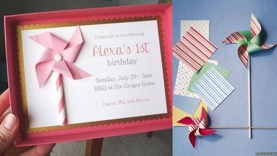 First Birthday Party Themes Pinwheel Diy 1st Invitations