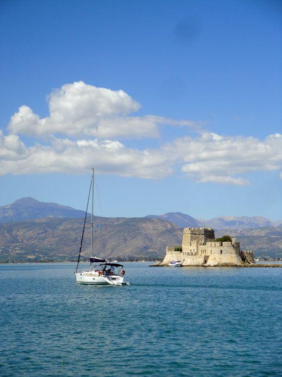 Sailing past #Bourtzi Fortress, #Nafplio, #Greece