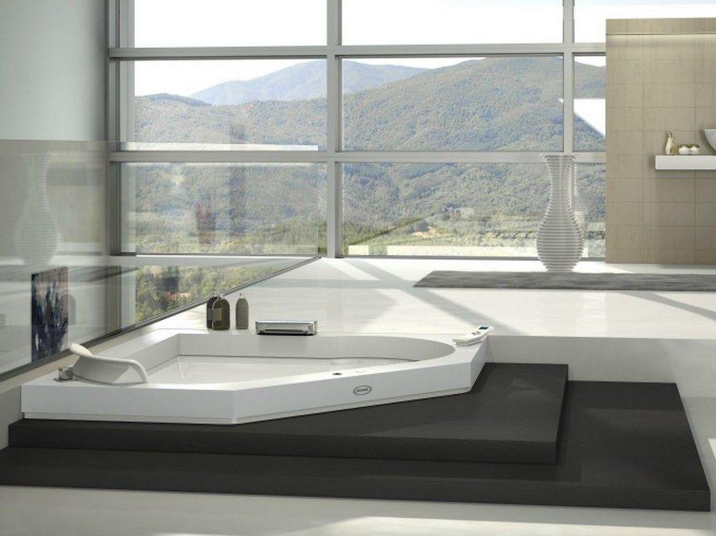 Eck- Whirlpool Badewanne aus Corian® AURA CORNER 140 CORIAN - hi tech acryl badewanne led einbauleuchten