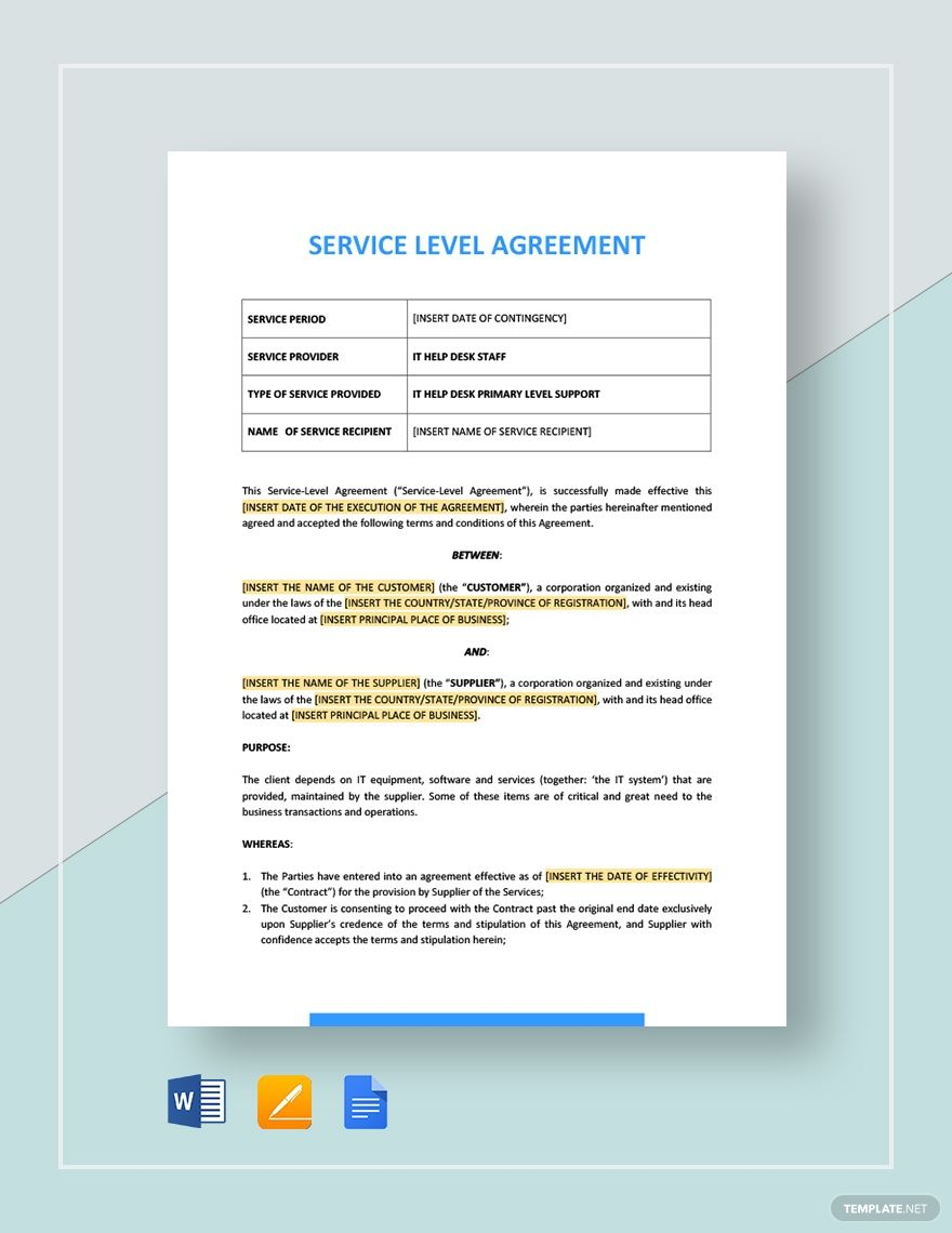 Service Level Agreement Template Service Level Agreement Policy