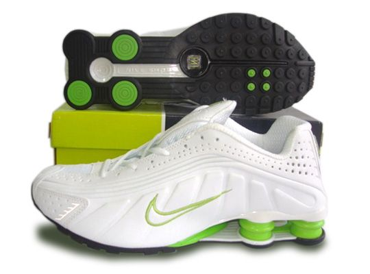 Nike Shox R4 Men Shoes - White Green-LOL DON\u0027T CARE IF THEY