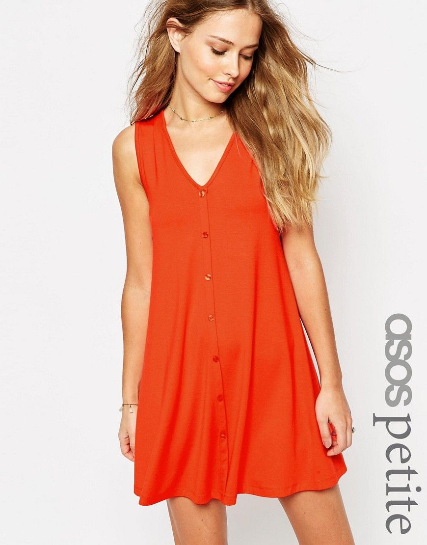 aec4dd562bba3 ASOS PETITE Sleeveless Swing Dress With Button Front