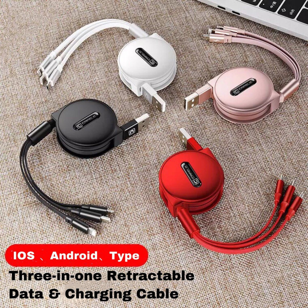 Three In One Retractable Data Charging Cable In 2020