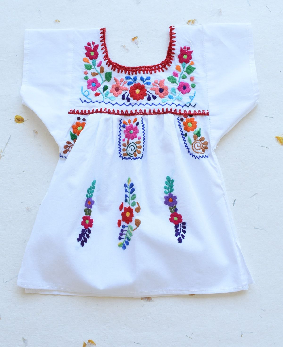 Clothing, Shoes & Accessories Girls Peasant Embroidered Mexican Blouse White Size 12 Months Blusa De NiÑa Fast Color