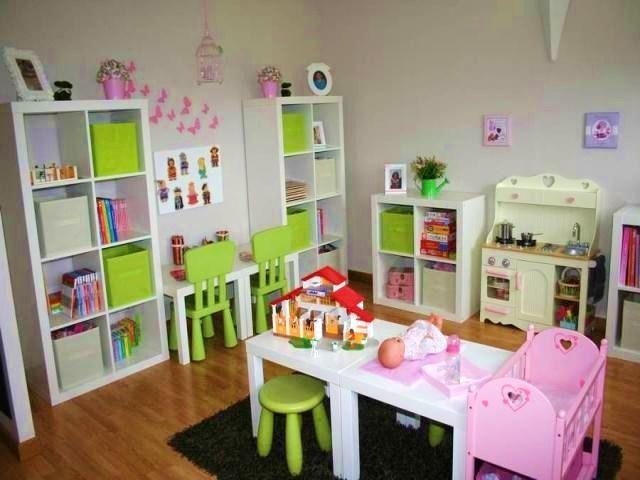 photos dcoration de salle de jeux enfantin blanc rose drage de tf