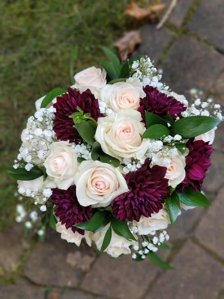 Burgundy dahlia and blush wedding bouquet Flower bouquet