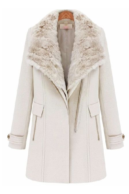 Street Style Cream White Fur Lapel Collar Zip Up Biker Wool Mink ...