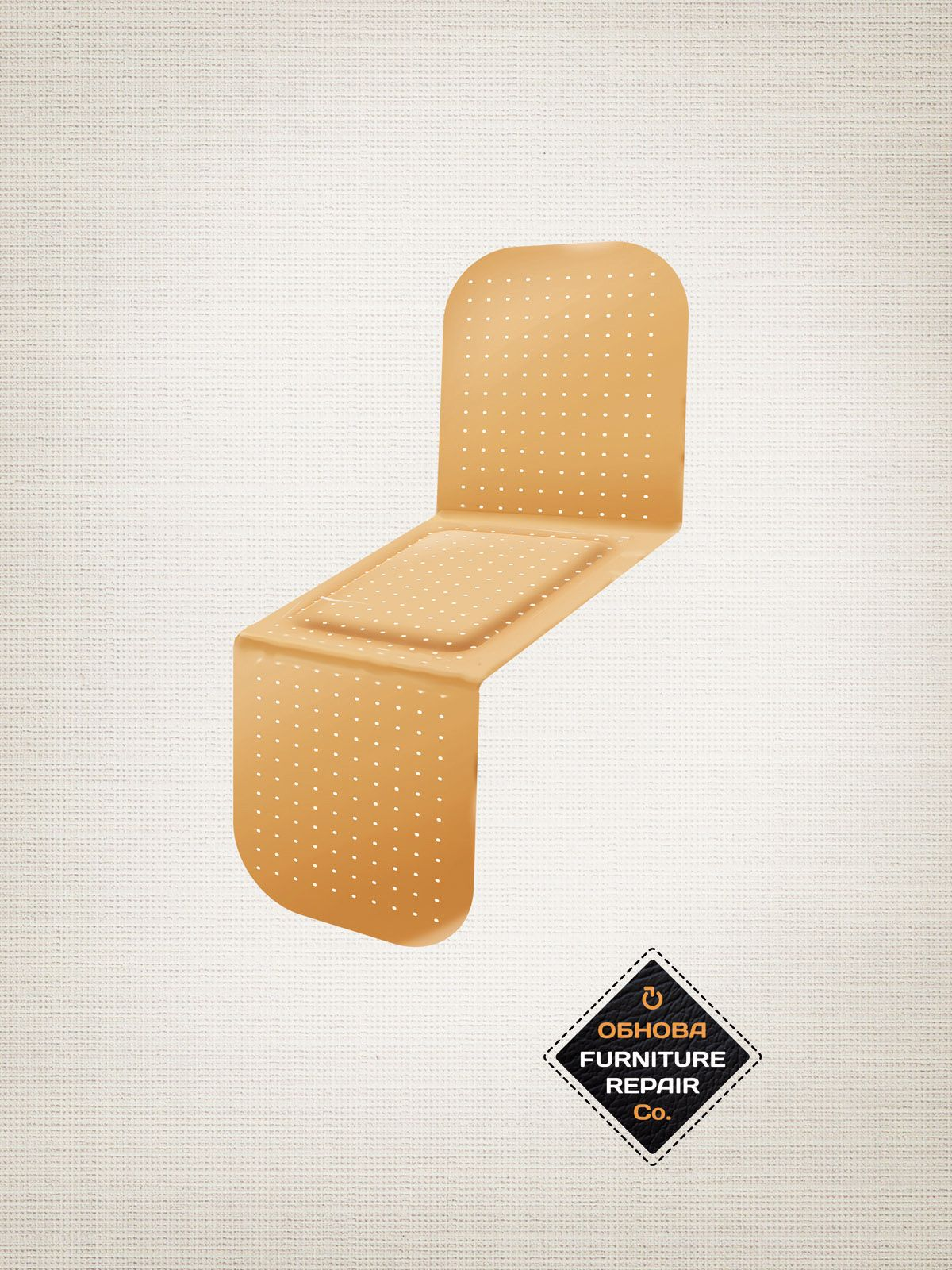 band aid ad from obnova furniture repair agency new moment new ideas
