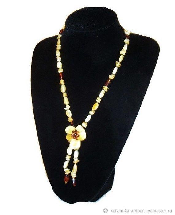 Бусы из янтаря натурального камня украшение для женщины ...
