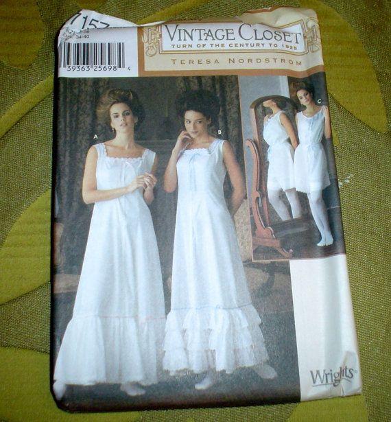 edwardian  victorian slip nightie underwear costume pattern 6 8 10 12 s m l