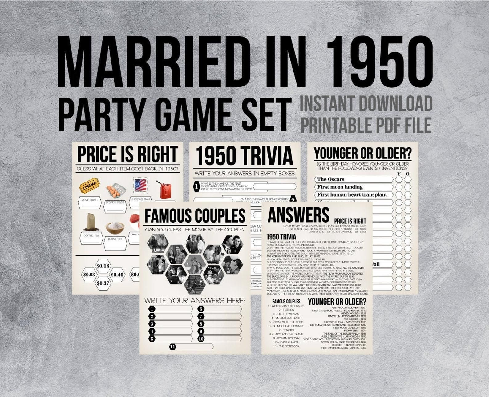 70th Anniversary Party Games, Year 1950 70th Wedding