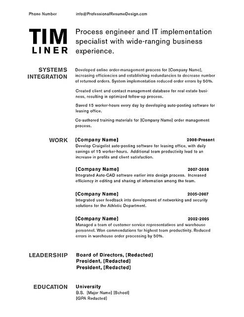 Professional Resume Design - Tim Professional resume design