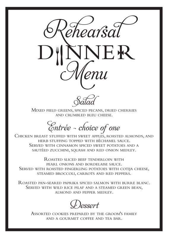 Elegant Wedding Rehearsal Dinner Menu Digital File Wedding - formal dinner menu template