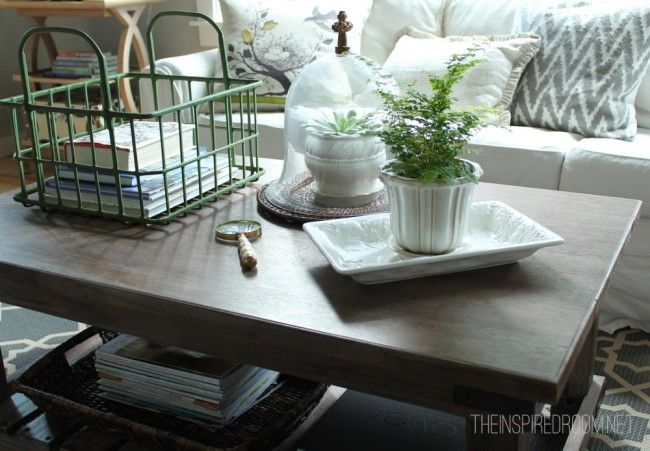 coffee table styling - organized, attractive, interesting