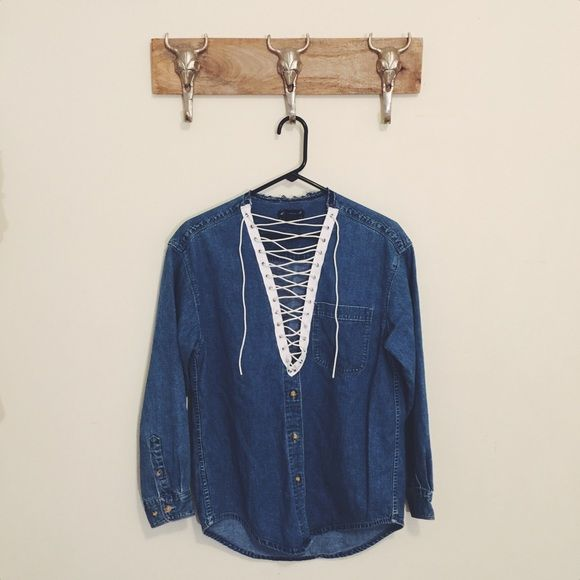 ☁️Custom Made Lace Up Denim Hand picked reworked denim☁️ Fits like a S/M☁️ Feel free to ask me any questions☁️ Thanks for browsing my closet!☁️ Happy Poshing☁️ Eddie Bauer Tops Button Down Shirts