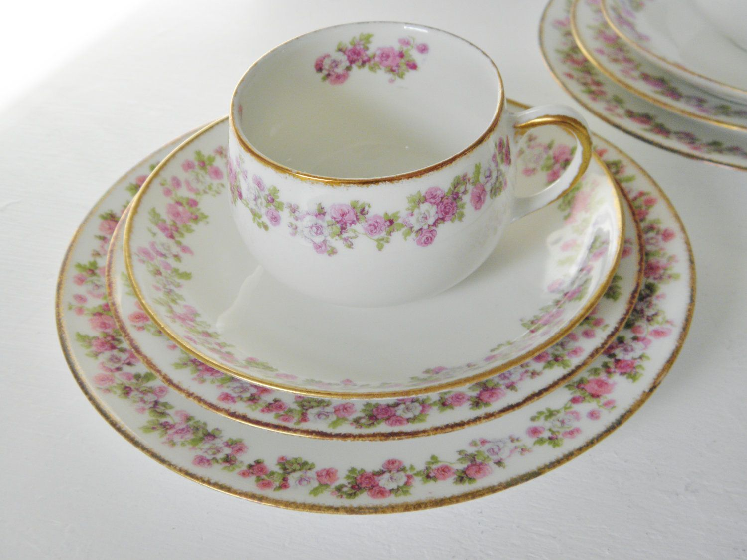 Antique Limoges China 3 Place Lunch Setting, France. $58.00, via ...