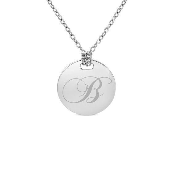 Zales Couples 22.0mm Round Disc Necklace in Sterling Silver (2 Lines) Q0uwq