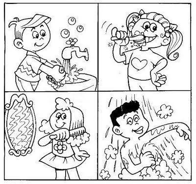 hygiene for preschoolers worksheets | personal hygiene coloring ...