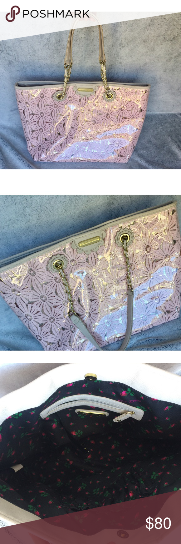 Stunning Betsey Large Pink & Gold Bag Absolutely gorgeous large bag. Gold with pink lace flowers, covered with plastic/pvc overtop. Ivory & gold chain handle straps. Cute cherry cotton lining.   ✔️If you'd like to MAKE AN OFFER please do so through the offer button ONLY. I won't negotiate prices in the comments.  ✔️All sale items, items $15 and under, & clearance items are firm unless BUNDLED.  ❌No trades, PayPal, Holds 📷Instagram: @lovelionessie Betsey Johnson Bags Totes